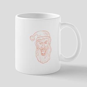Evil Santa Claus Head Drawing Mugs