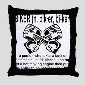 Biker (n) Definition Throw Pillow