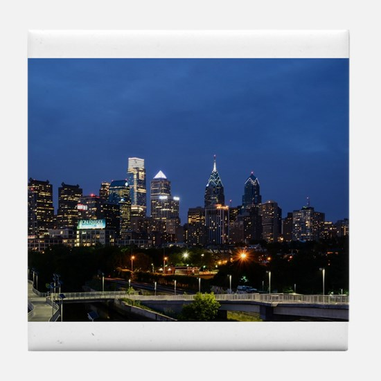 Philadelphia cityscape skyline view Tile Coaster
