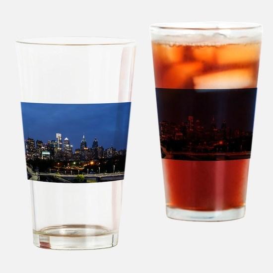 Philadelphia cityscape skyline view Drinking Glass