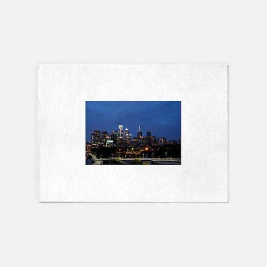 Philadelphia cityscape skyline view 5'x7'Area Rug