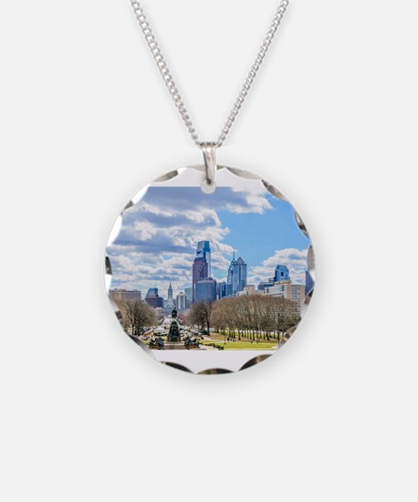 Philadelphia cityscape skyli Necklace