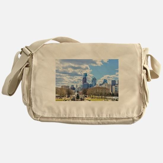 Philadelphia cityscape skyline view Messenger Bag
