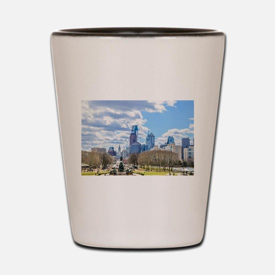 Philadelphia cityscape skyline view Shot Glass