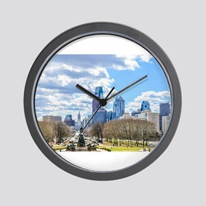 Philadelphia cityscape skyline view Wall Clock