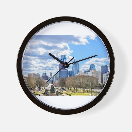 Philadelphia cityscape skyline view Wall Clock