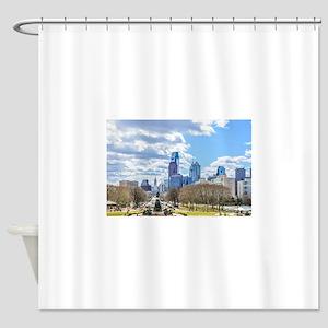 Philadelphia cityscape skyline view Shower Curtain