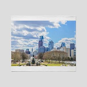 Philadelphia cityscape skyline view Throw Blanket