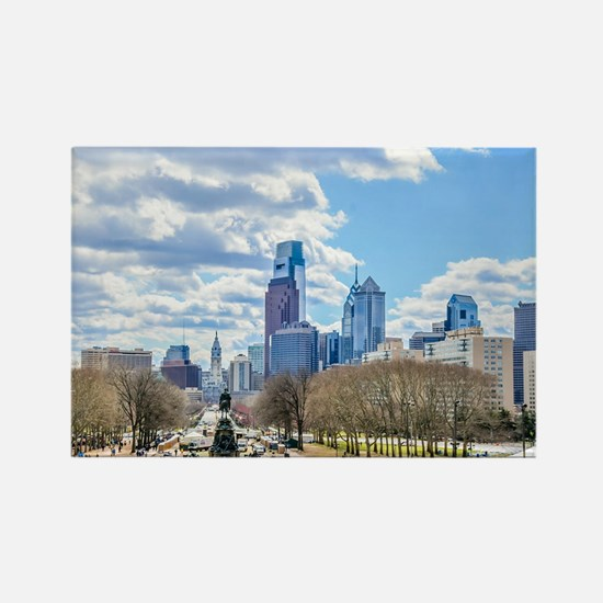 Philadelphia cityscape skyline view Magnets