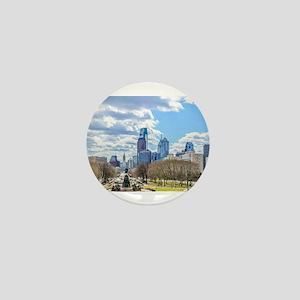 Philadelphia cityscape skyline view Mini Button