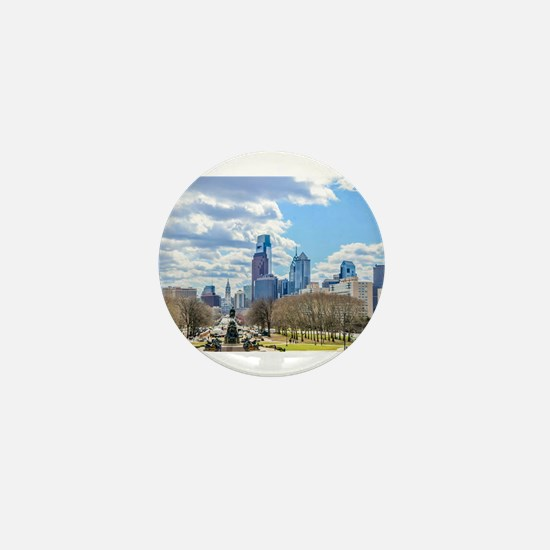 Philadelphia cityscape skyline view Mini Button
