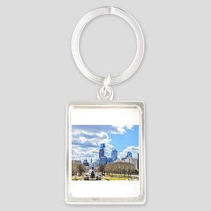 Philadelphia cityscape skyline view Keychains