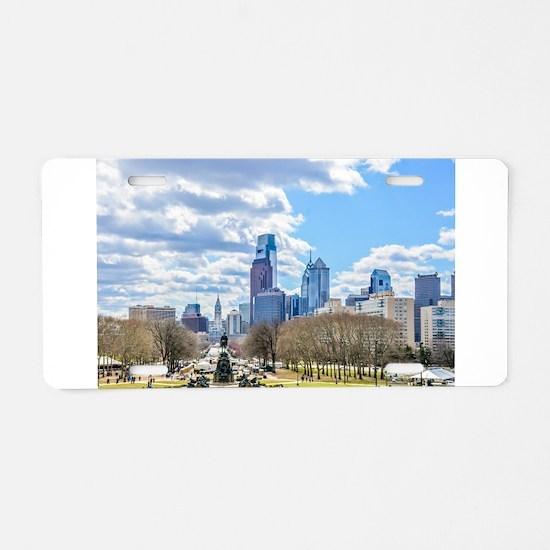 Philadelphia cityscape skyl Aluminum License Plate
