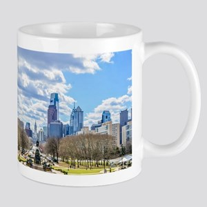 Philadelphia cityscape skyline view Mugs
