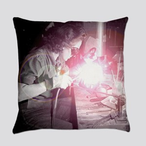 Vintage Woman Welder Everyday Pillow