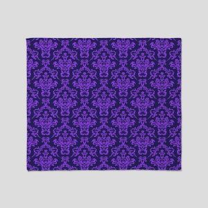 Violet Ornamental Flower & Vines Throw Blanket