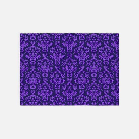 Violet Ornamental Flower & Vines 5'x7'Area Rug