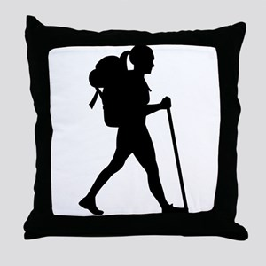 Hiking girl woman Throw Pillow