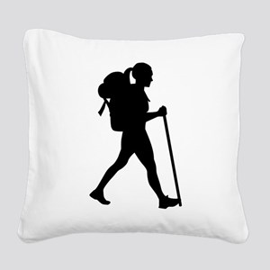 Hiking girl woman Square Canvas Pillow