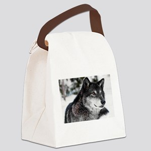 Black Wolf Canvas Lunch Bag