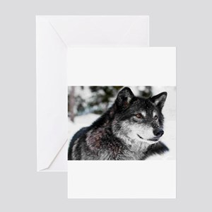 Black Wolf Greeting Cards