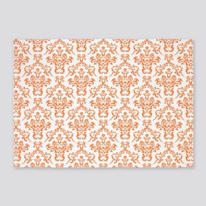 Orange Ornamental Flower & Vines Pa 5'x7'Area Rug