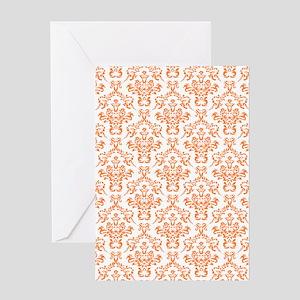 Orange Ornamental Flower & Vines Pat Greeting Card