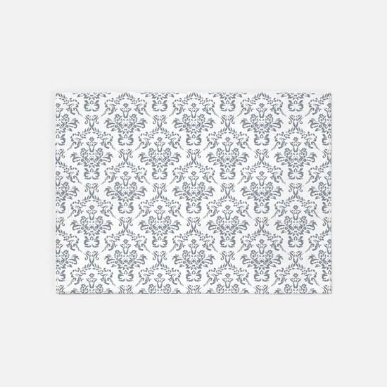 Grey Ornamental Flower & Vines Patt 5'x7'Area Rug