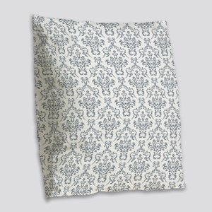 Grey Ornamental Flower & Vines Burlap Throw Pillow