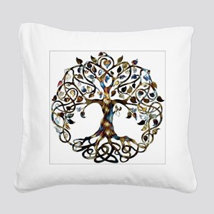 Brown_Tree_Of_Life Square Canvas Pillow
