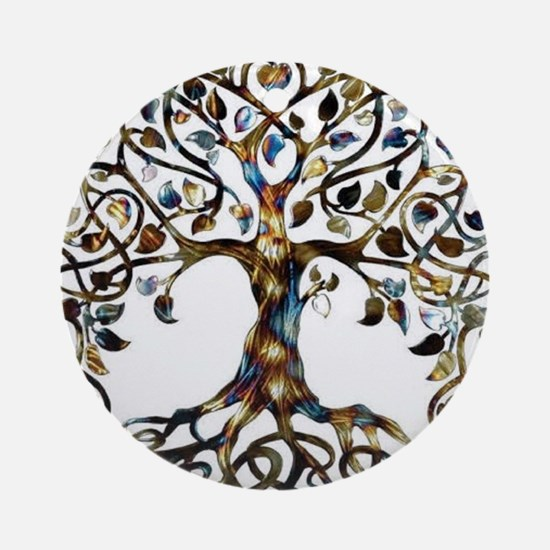 Brown_Tree_Of_Life Round Ornament