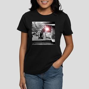 Vintage Female Worker with Ox Women's Dark T-Shirt