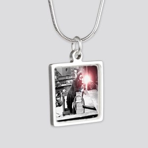 Vintage Female Worker with Silver Square Necklace