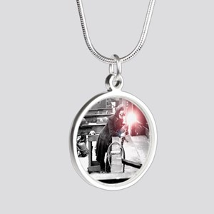 Vintage Female Worker with O Silver Round Necklace