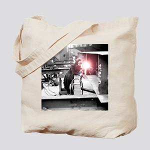Vintage Female Worker with Oxy-Fuel Cutte Tote Bag