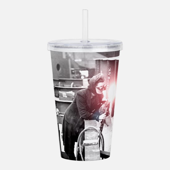 Vintage Female Worker Acrylic Double-wall Tumbler