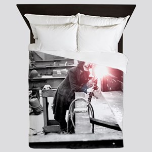 Vintage Female Worker with Oxy-Fuel Cu Queen Duvet