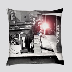 Vintage Female Worker with Oxy-Fue Everyday Pillow