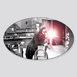 Vintage Female Worker with Oxy-Fuel Sticker (Oval)