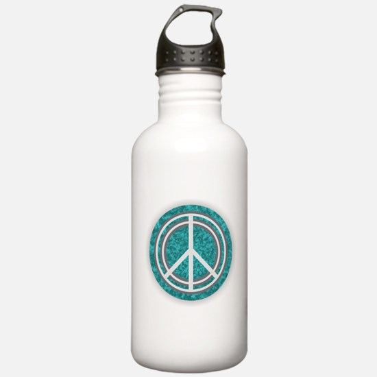 Turquoise Peace Sign Water Bottle
