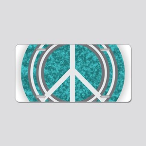 Turquoise Peace Sign Aluminum License Plate