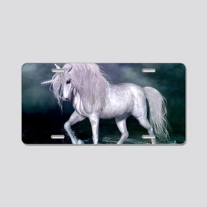 Wonderful unicorn on the beach Aluminum License Pl