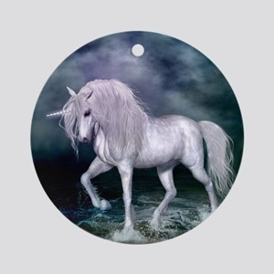 Wonderful unicorn on the beach Round Ornament