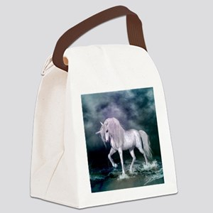 Wonderful unicorn on the beach Canvas Lunch Bag