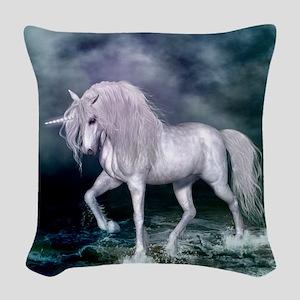 Wonderful unicorn on the beach Woven Throw Pillow