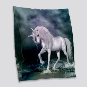 Wonderful unicorn on the beach Burlap Throw Pillow