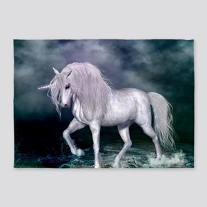 Wonderful unicorn on the beach 5'x7'Area Rug