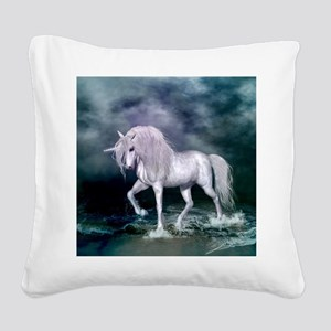 Wonderful unicorn on the beach Square Canvas Pillo