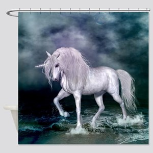 Wonderful unicorn on the beach Shower Curtain