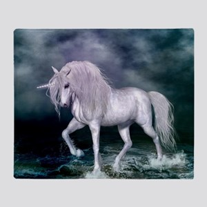 Wonderful unicorn on the beach Throw Blanket